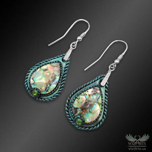 Abalone and Polymer Clay Earrings with 925 Sterling Silver Hooks (Small Teardrop) - wizArts