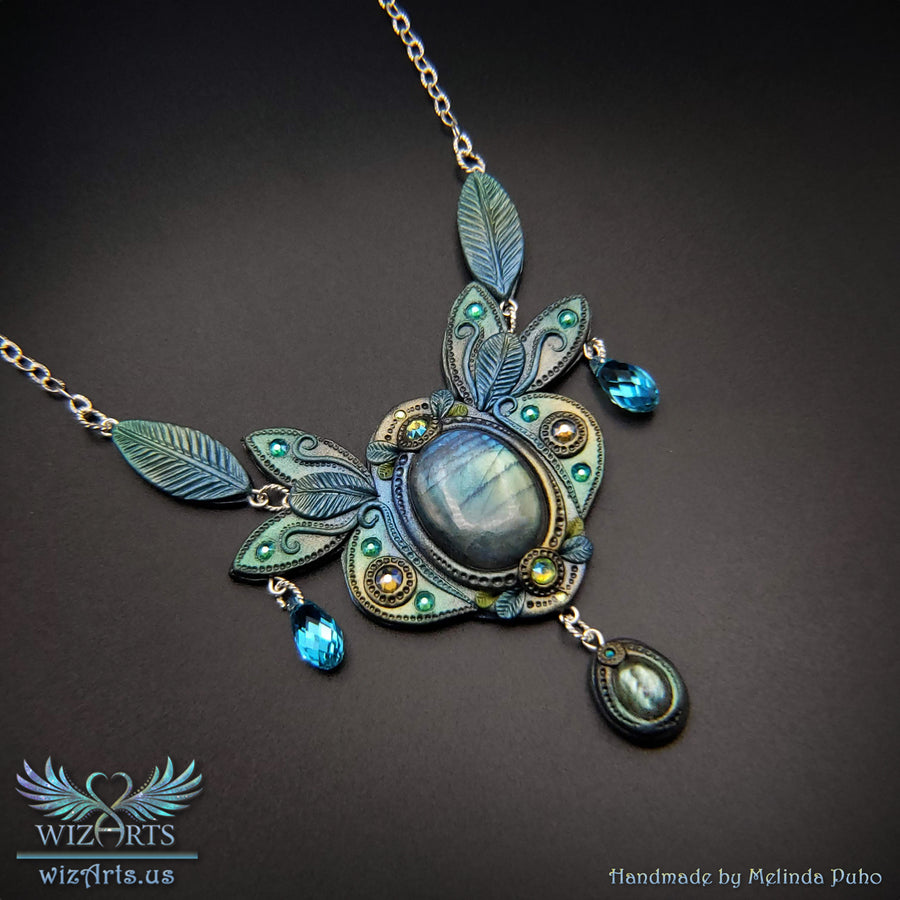 *Enchanted Elven Necklace* Handmade Polymer Clay and Labradorite Gemstone Jewelry