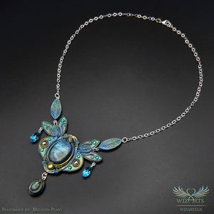 *Enchanted Elven Necklace* Handmade Polymer Clay and Labradorite Gemstone Jewelry - wizArts