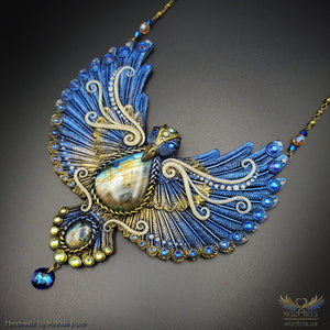 *The Golden Bluebird* Glow-in-the-Dark, Hand-Sculpted, OOAK Statement Necklace - wizArts