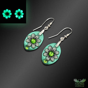*Flowers of the Night*, Glow-in-the-Dark Earrings (Green) - wizArts