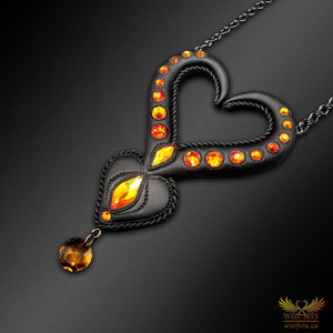 *Heart of Fire* - Handmade, Magical Art Necklace (Black) - wizArts