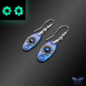 *Flowers of the Night*, Glow-in-the-Dark Earrings (Color-Shifting Blue/Purple, Small) - wizArts