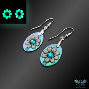 *Flowers of the Night*, Glow-in-the-Dark Earrings (Color-Shifting Green/Purple) - wizArts
