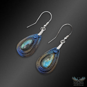 Polymer Clay and Labradorite Earrings with 925 Sterling Silver Earwire (Large Teardrop) - wizArts