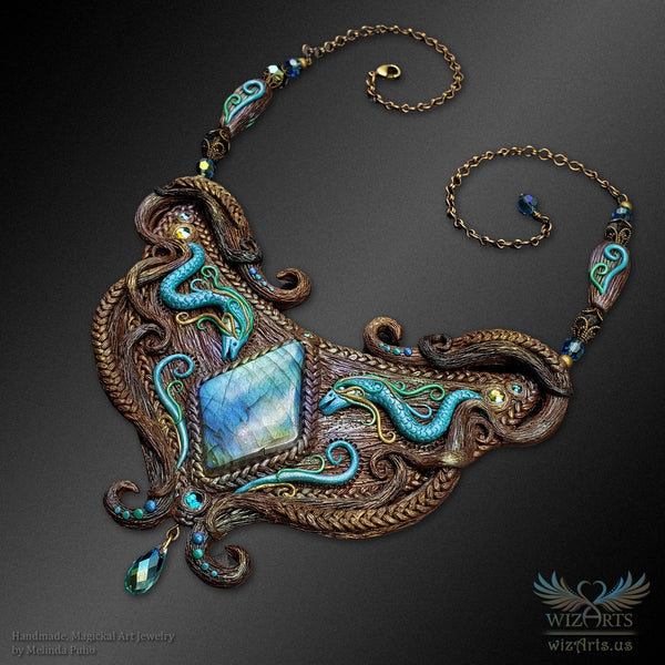 *Mizuchi* Hand-Sculpted Polymer Clay and Labradorite Necklace - wizArts