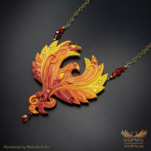 *Phoenix* Magickal, Handmade Statement Art Necklace - wizArts