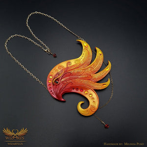 *Phoenix*, Hand-sculpted Polymer Clay Necklace, Magical Wearable Art