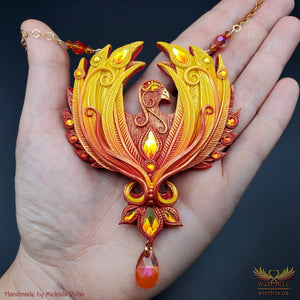 *Phoenix Rising* Magickal, Handmade Statement Art Necklace - wizArts