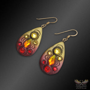 Magickal, Fiery Polymer Clay Earrings with 14k Gold-Filled Earwire - wizArts