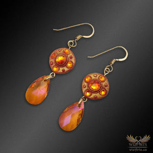 Magickal, Fiery Polymer Clay and Swarovski Crystal Earrings with 14k Gold-Filled Hooks - wizArts