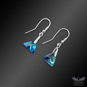 Swarovski Earrings with 925 Sterling Silver Hooks (Blue Xilion Triangle) - wizArts