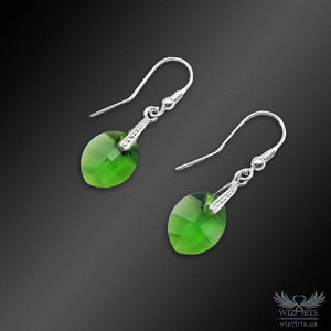 Swarovski Earrings with 925 Sterling Silver Hooks (Peridot Pure Leaf) - wizArts