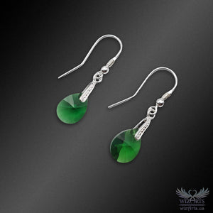 Swarovski Earrings with 925 Sterling Silver Hooks (Green Drop) - wizArts