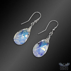 Swarovski Earrings with 925 Sterling Silver Earwire (Clear Aurora Borealis Pear) - wizArts