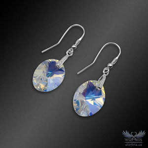 Swarovski Earrings with 925 Sterling Silver Earwire (Clear Aurora Borealis Xilion Oval) - wizArts