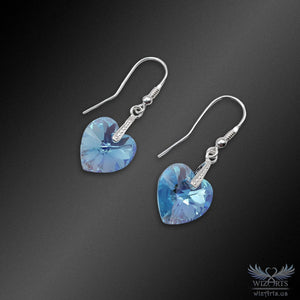 Swarovski Earrings with 925 Sterling Silver Hooks (Light Blue Heart) - wizArts