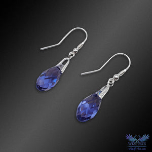 Swarovski Earrings with 925 Sterling Silver Hooks (Tanzanite Briolette) - wizArts