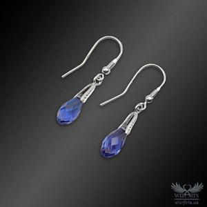 Swarovski Earrings with 925 Sterling Silver Earwire (Tanzanite Briolette Small) - wizArts