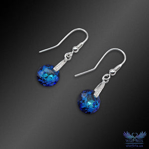 Swarovski Earrings with 925 Sterling Silver Hooks (Blue Bermuda Classic) - wizArts