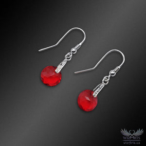 Swarovski Earrings with 925 Sterling Silver Hooks (Light Siam Classic) - wizArts