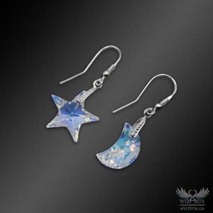 Swarovski Earrings with 925 Sterling Silver Hooks (Star and Moon) - wizArts