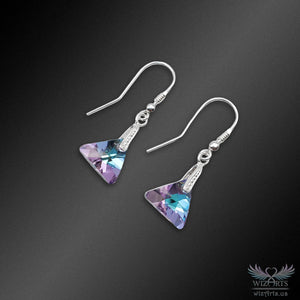 Swarovski Earrings with 925 Sterling Silver Earwire (Clear Vitrail Light Xilion Triangle) - wizArts