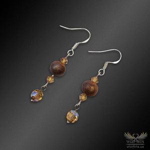 Magickal, Polymer Clay and Swarovski Beads Earrings with 925 Sterling Silver Earwire (Topaz/Beige) - wizArts