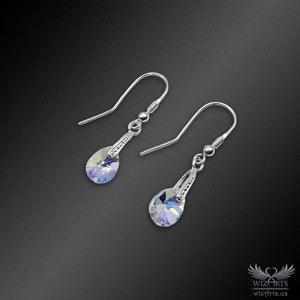 Swarovski Earrings with 925 Sterling Silver Hooks (Clear Aurora Borealis Xilion Pear) - wizArts