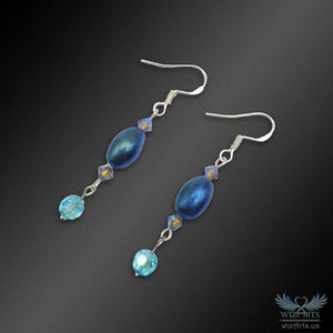 Magickal, Polymer Clay and Swarovski Beads Earrings with 925 Sterling Silver Hooks (Blue/Green) - wizArts