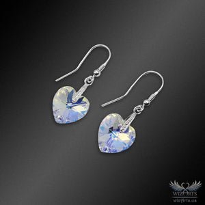 Swarovski Earrings with 925 Sterling Silver Earwire (Clear Aurora Borealis Heart) - wizArts