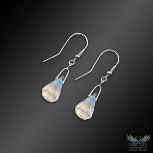 Swarovski Earrings with 925 Sterling Silver Earwire (Clear Aurora Borealis Xirius Raindrop) - wizArts