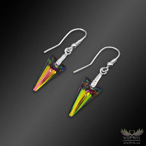 Swarovski Earrings with 925 Sterling Silver Hooks (Clear Vitrail Medium Spike) - wizArts