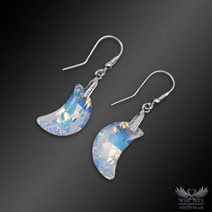 Swarovski Earrings with 925 Sterling Silver Earwire (Clear Aurora Borealis Moon) - wizArts