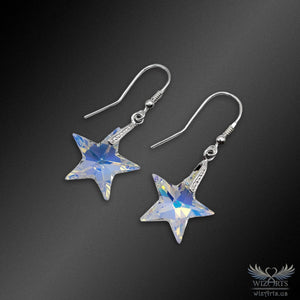 Swarovski Earrings with 925 Sterling Silver Hooks (Aurora Borealis Stars) - wizArts