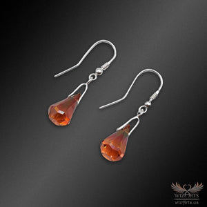Swarovski Earrings with 925 Sterling Silver Hooks (Red Magma Xirius Raindrop) - wizArts