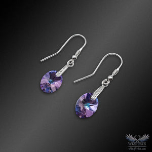 Swarovski Earrings with 925 Sterling Silver Hooks (Clear Vitrail Light Xilion Oval) - wizArts