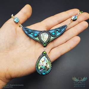 *Aquatica* - An Iridescent, Magical Abalone Shell Art Necklace - wizArts
