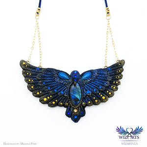 *The Bluebird of Happiness* Hand-sculpted Polymer Clay Statement Art Necklace