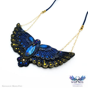 *The Bluebird of Happiness* Hand-sculpted Polymer Clay Statement Art Necklace - wizArts