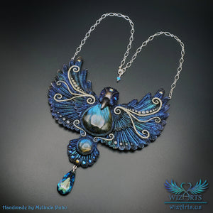 *Magickal Lightwing* Glow-in-the-Dark, Iridescent Statement Necklace