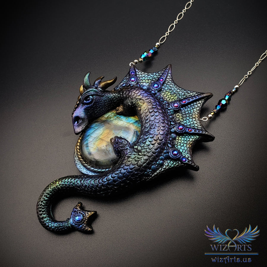 *Cosmic Dragon* - An Iridescent, Magical Art Necklace - wizArts