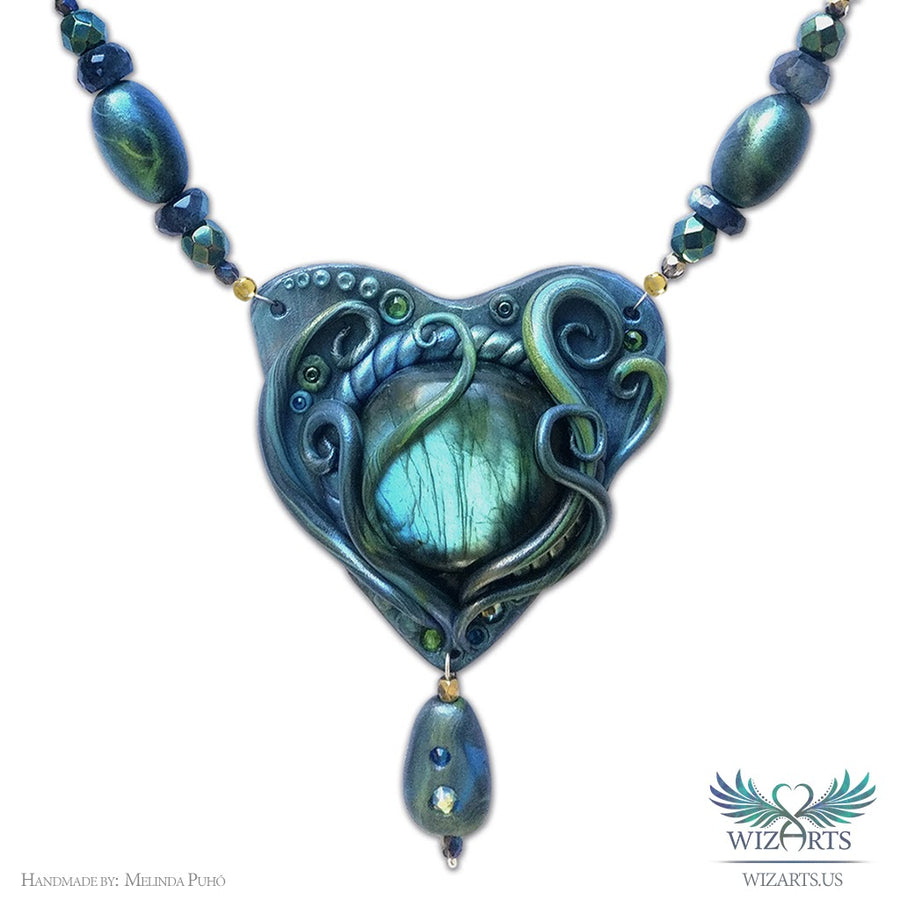*Enchanted Northern Lights* Handmade Polymer Clay and Labradorite Necklace