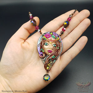 *The Fairy of the Forest* Hand-Sculpted One-of-a-Kind, Magical Wearable Art Necklace - wizArts