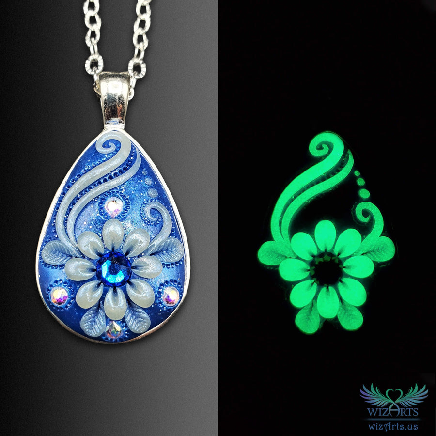 *Flowers of the Night* Handmade, Glow-in-the-Dark Teardrop Necklace (1) - wizArts