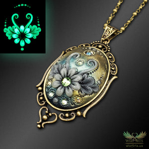 *Flowers of the Night* Handmade, Glow-in-the-Dark Filigree Necklace (1) - wizArts