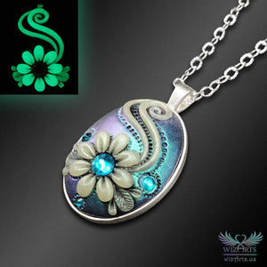 *Flowers of the Night* Handmade, Iridescent (Color-Shifting Turquoise/Purple) Glow-in-the-Dark Oval Necklace - wizArts