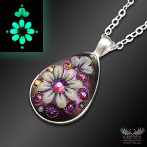 *Flowers of the Night* Handmade, Iridescent, Color-Shifting, Glow-in-the-Dark Teardrop Necklace - wizArts