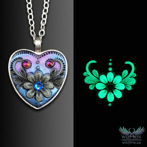 *Heart of the Night* (Blue/Purple) Handmade, Glow-in-the-Dark Heart Necklace - wizArts