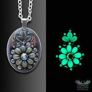 *Flowers of the Night* Handmade, Iridescent, Holographic, Glow-in-the-Dark Oval Necklace - wizArts